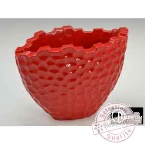 dia vase ovale rouge Edelweiss -B8186