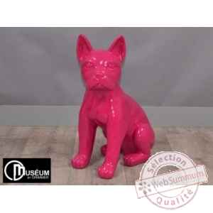 Objet decoration color chien assis fuschia 50cm Edelweiss -C9126