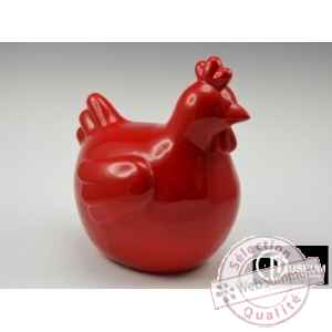 Objet decoration color poule rde rge 34cm Edelweiss -C9130