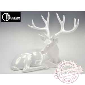 Objet decoration forest cerf blanc nacre Edelweiss -C2171
