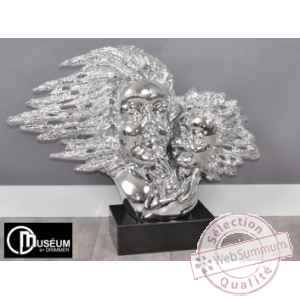 Objet decoration illusion couple tete chrome Edelweiss -C8865