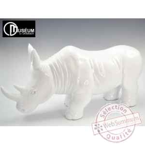 Objet decoration illusion rhinoceros blanc Edelweiss -C8844
