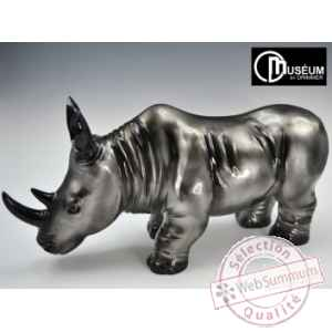 Objet decoration illusion rhinoceros noir/argt Edelweiss -C8843