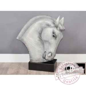 Objet decoration illusion tete cheval grise Edelweiss -C8854