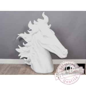 Objet decoration illusion tete de cheval blanch Edelweiss -C8855