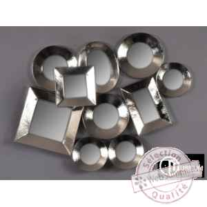 Objet decoration nickel appl murale 10 miroirs Edelweiss -C8919