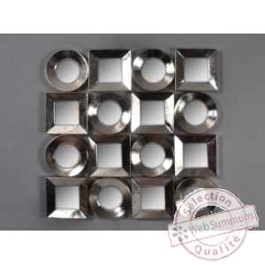 Objet decoration nickel appl murale 16 miroirs Edelweiss -C8922