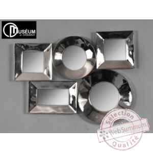 Objet decoration nickel appl murale 5 miroirs Edelweiss -C8915