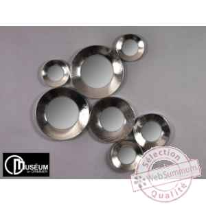 Objet decoration nickel appl murale 7 miroirs Edelweiss -C8916