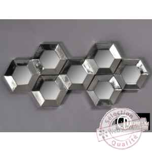 Objet decoration nickel appl murale 9 miroirs Edelweiss -C8918