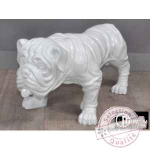 Objet decoration playful bulldog blanc 77cm Edelweiss -C9103