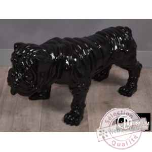 Objet decoration playful bulldog noir 77cm Edelweiss -C9104