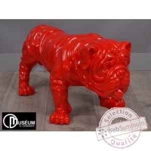 Objet decoration playful bulldog rouge 77cm Edelweiss -C9102