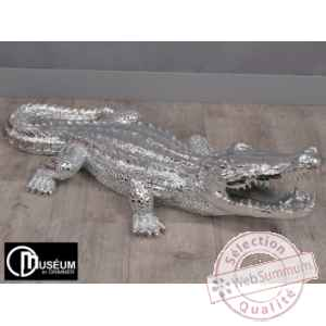 Objet decoration playful crocodile 95cm argent Edelweiss -C9107