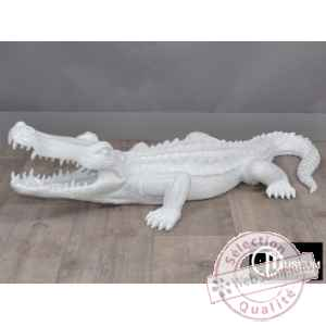Objet decoration playful crocodile 95cm blanc Edelweiss -C9105