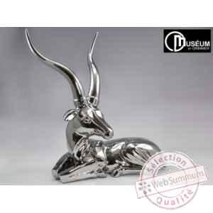 Objet d coration silver antilope argent 66cm edelweiss for Objet deco argente