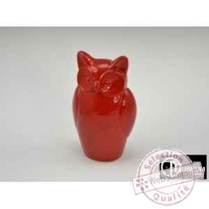 statue carat hiboux rouge 26cm Edelweiss -B8172