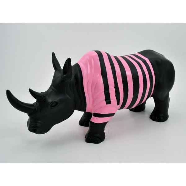 Statue emotion rhinoceros ligne rose Edelweiss -C9701