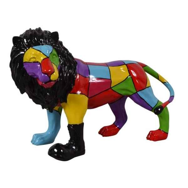 Statue funny lion botte multicolore Edelweiss -C9242