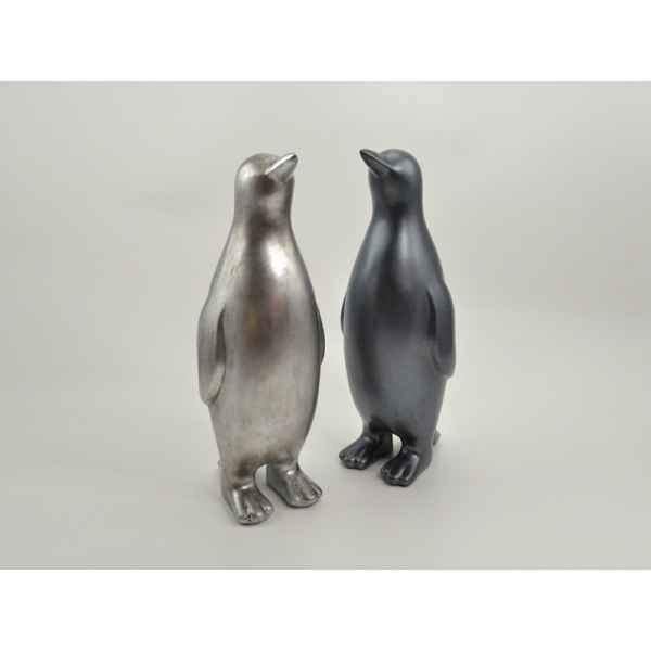 Statue pingouin polaire 48cm 2 couleurs argent assorties Edelweiss -C9552