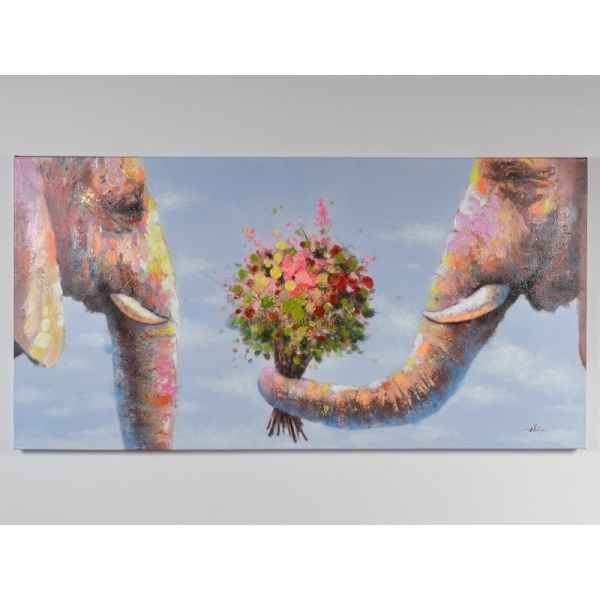 Toile couple elephants 140x90cm Edelweiss -C7034