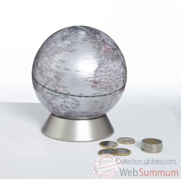 Globe tirelire orion argent emform -se-0825