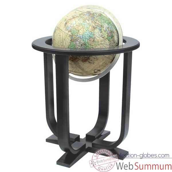 Globe g�ographique Colombus lumineux - mod�le Prestige  - sph�re 40 cm, m�ridien m�tal aluminium-CO2240501