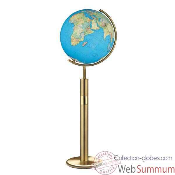 Globe g�ographique Colombus lumineux - mod�le Prestige  - sph�re 40 cm, m�ridien m�tal laiton-CO204079