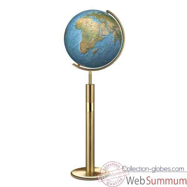 Globe g�ographique Colombus lumineux - mod�le Prestige  - sph�re 40 cm, m�ridien m�tal laiton-CO214079