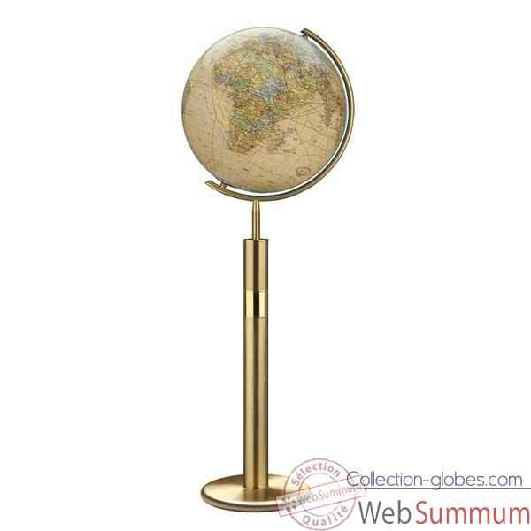 Globe g�ographique Colombus lumineux - mod�le Prestige  - sph�re 40 cm, m�ridien m�tal laiton-CO224079