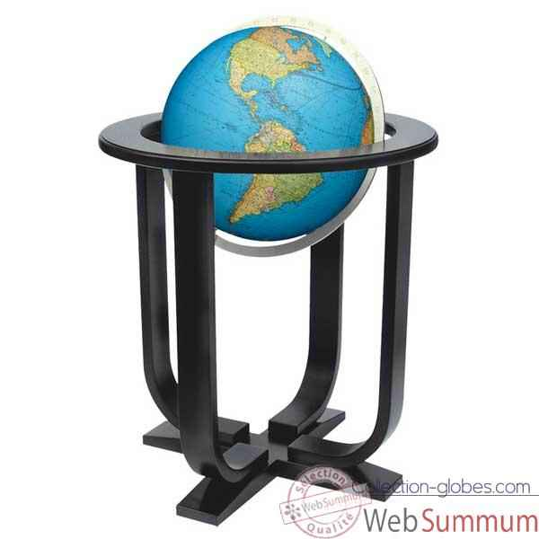 Globe g�ographique Colombus lumineux - mod�le Prestige  - sph�re 40 cm, m�ridien m�tal aluminium-CO2040501