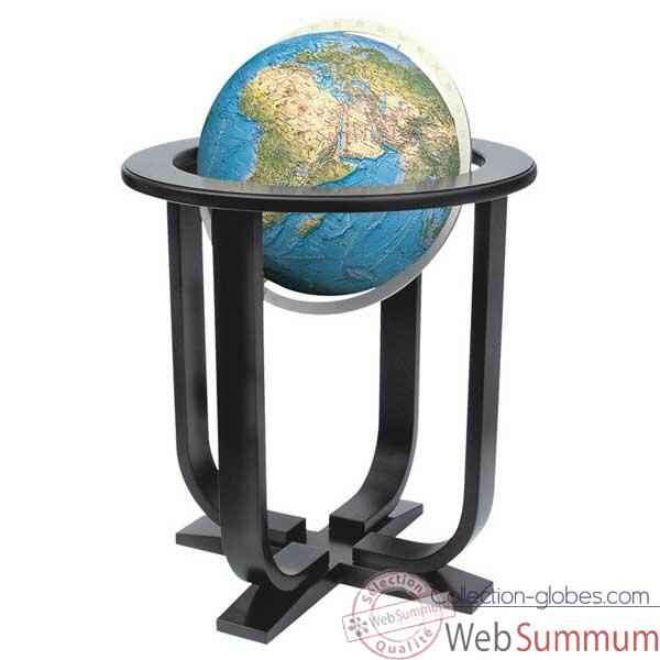 Globe g�ographique Colombus lumineux - mod�le Prestige  - sph�re 40 cm - m�ridien m�tal aluminium-CO2140501
