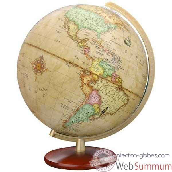 Globe g�ographique Colombus lumineux - mod�le DUPLEX Antique - sph�re 30 cm-CO603052