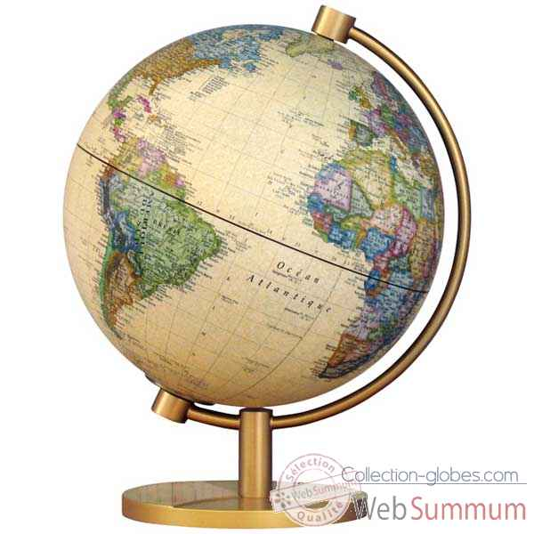 Globe g�ographique Stellanova - mod�le Metallic Antique lumineux - sph�re 28 cm -SL28IANTIQ