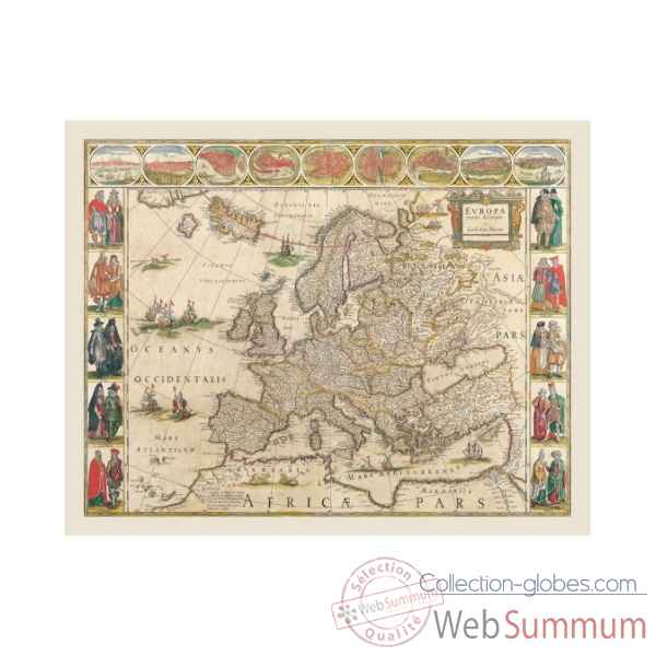 Carte de l\\\'europe en parchemin vieilli Zoffoli -Art.3351